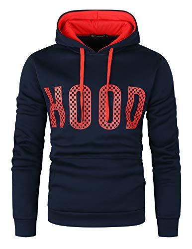 GHYUGR Sudadera con Capucha Hombre Colores de Contraste Estampado Hoodie Sweatshirt Pullover con Bolsillo Otoño Invierno Deporte Outwear,Azul+Rojo,L