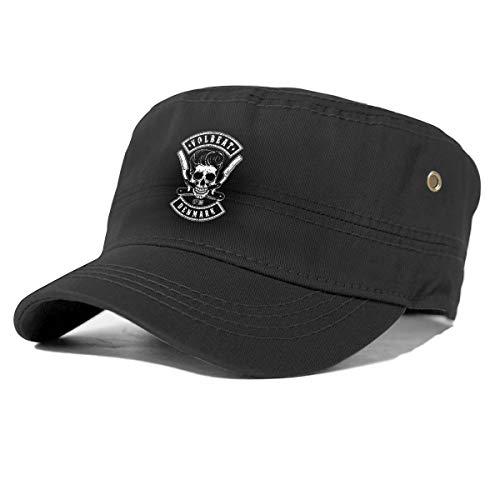 gjhj Volbeat Cotton Newsboy Military Flat Top Cap Unisex Einstellbare Armee Washed Cadet Cap, baumwolle, Schwarz , Einheitsgröße