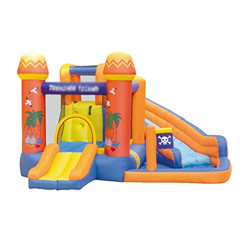 WRJY Castillo Hinchable para niños Trampolín Parque de Atracciones Tobogán Cama de Salto Grande Juguetes de jardín (Color: Rojo + Azul, Tamaño: 340 * 340 * 215 cm)