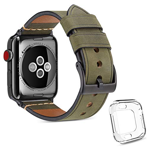 DaGeLon Compatibel met Apple Horlogeband 40mm 44mm Serie 5 Serie 4, (met 1 Zachte TPU Silicone Case), Frosted Leather Polsband Vervangende Band Duurzame Horlogeband voor iWatch Sport Edition Nike+