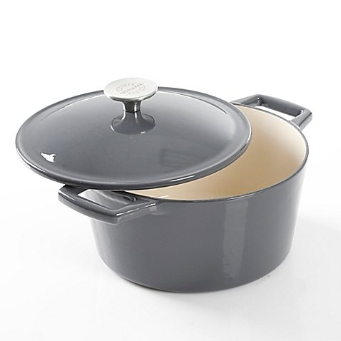 Artisanal Kitchen Supply 3.5 qt. Stylishly Chic Durable Sturdy Enameled Cast Iron Dutch Oven Casseroles in Grey, Pre-Seasoned, Compatible With All Stove Types Like Induction And BBQ Grills