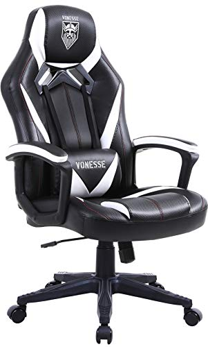 Gaming Chairs for Adults, Computer Chair Big and Tall, Ergonomic Gaming Chair with Massage, High Back Gamer Chair for E Sports, Heavy Duty Gaming Computer Chair, Carbon Fiber Gaming Desk Chair (Black)