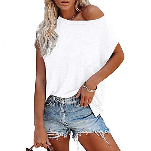 FCYOSO Camiseta de verano de 2021 de color sólido, blusas de hombro descubierto sexy