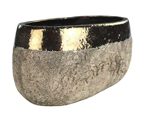DARO DEKO Pflanztopf flach aus Keramik - braun mit Goldrand