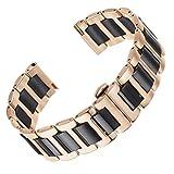 AUTULET 22mm solide cinture di orologi in ceramica in acciaio inossidabile 316L oro rosa e il nero...