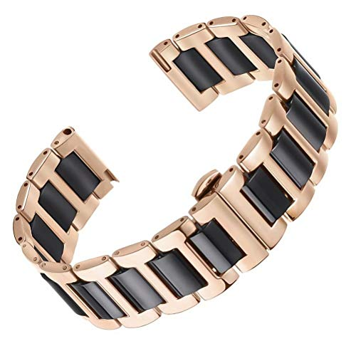 AUTULET 22mm solide cinture di orologi in ceramica in acciaio inossidabile 316L oro rosa e il nero spazzolato fibbia