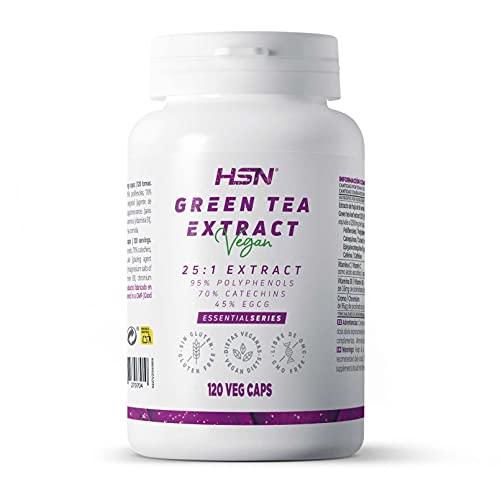 Té Verde de HSN | Green Tea 500 mg | Extracto 25:1 | Alta Concentración | Con 95% Polifenoles + 70% Catequinas + 45% EGCG | No-GMO, Vegano, Sin Gluten, Sin Lactosa | 120 Cápsulas Vegetales