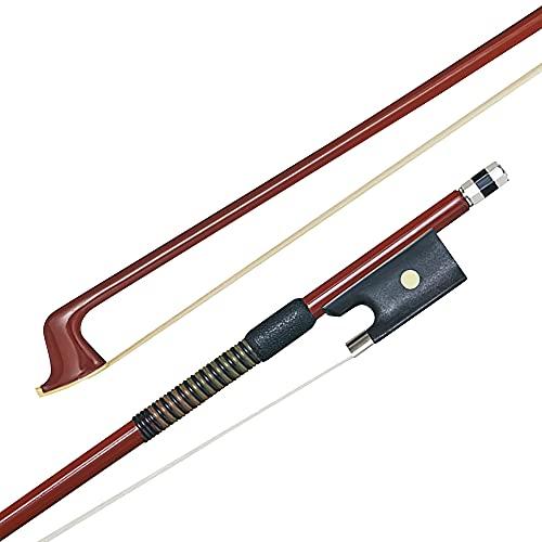 P & H Bows Arco de violín de fibra de vidrio 1/2, ligero y duradero arco hecho con pelo de caballo blanco natural, ideal para estudiantes de violín, principiantes y profesores