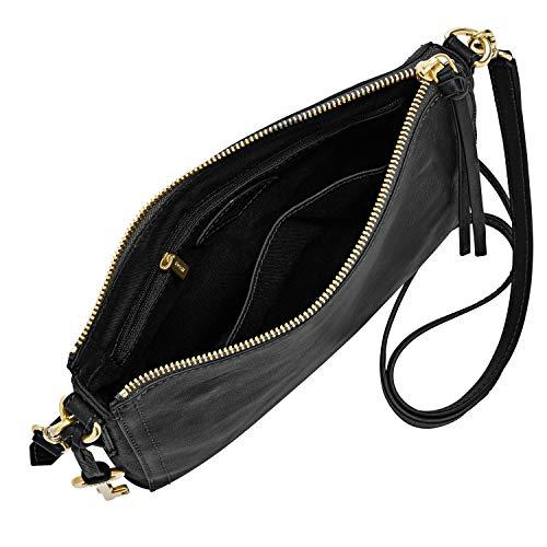 Fossil Women's Emma Leather Small Crossbody Handbag, Black