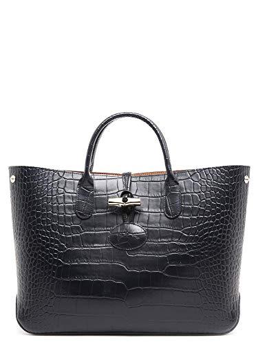 Longchamp Roseau Crocodile-embossed Shoulder Bag Black Croco ...