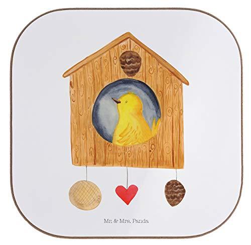 Mr. & Mrs. Panda Holz, quadratisch, Quadratische Untersetzer Vogelhaus - Farbe Weiß