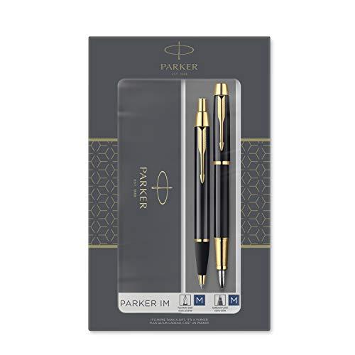 PARKER IM Duo set regalo con penna a sfera e penna stilografica, nero lucido con finiture in oro, cartuccia e ricarica di inchiostro blu, confezione regalo
