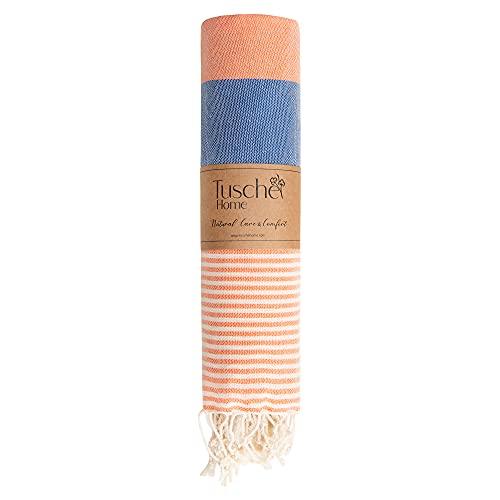 Toalla de playa, baño, piscina, gimnasio, camping, picnic, pestemal, 100 x 180 cm, c. 290 gr.-%100 Premium algodón turco de secado rápido (azul/naranja claro)