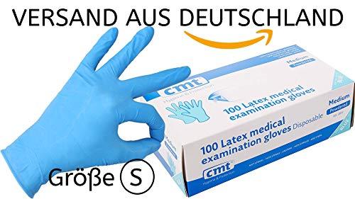 Einweghandschuhe blau Latex 100er Pack nach EN374/EN455/EN388/EN420- gepudert - Latexhandschuhe Einweg von CMT® - Größe S