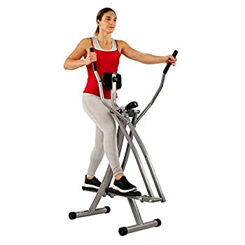 Sunny Health & Fitness SF-E902 Air Walk Trainer Elliptical Machine Glider w/LCD Monitor 220 LB Max Weight and 30 Inch Stride