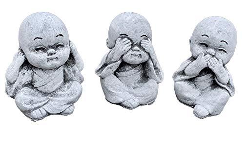 Stone and Style Steinfigur 3er Set kleine Chinesen Nichts sehen hören Sagen frostfest wetterfest