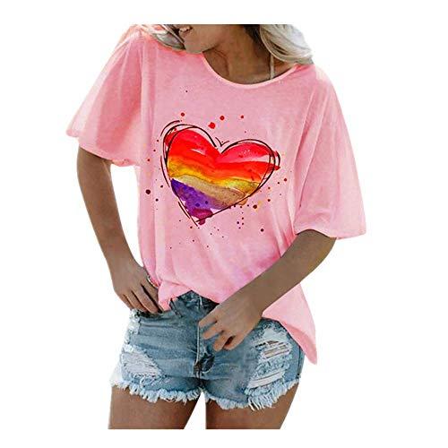 N\P Corazón de impresión de flores señoras camiseta casual base O-cuello blanco camisa manga corta señoras camiseta impresión gráfica corto