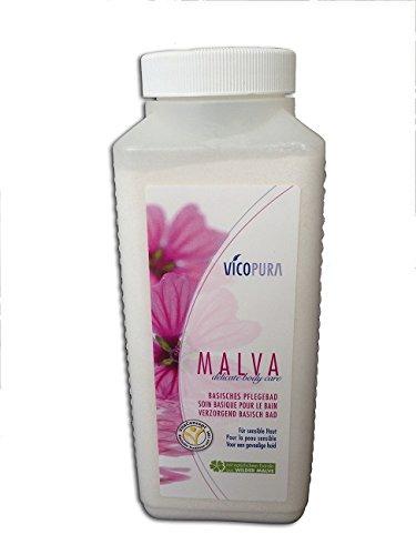 VICOPURA MALVA delicate body care, basisches Pflegebad, Basensalz, beruhigendes Badesalz, Basenbad für juckende Haut, 1200 g