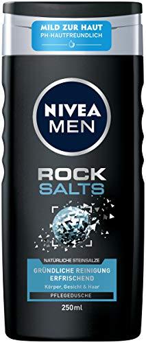 NIVEA MEN Rock Salts Pflegedusche (250 ml), erfrischendes Duschgel mit natürlichen Steinsalzen, pH-hautfreundliche Dusche für Körper, Gesicht und Haar