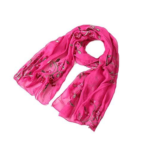Bufanda De Seda Con Bordado De Flores Moda Para Mujer Todo-Fósforo Bufanda De Primavera Y Verano Para Mujer Toalla De Playa Mantón Anti-Sai Simulación Seda Rosa Roja