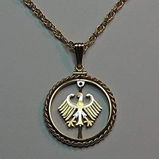 German Eagle - 2 Mark - Beautifully Hand Cut out & 2-toned(Uniquely Hand done) Gold on Silver coin Necklaces for women men girls girlfriend boys teen girls