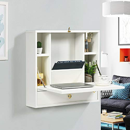 CASART. Wall Mounted Computer Desk, 2-in-1 Cupboard Cabinet Dressing Table with Storage Shelves and Drawer, Home Office Bedroom Folding Drop-leaf Table (White)