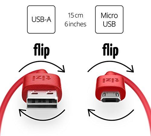 equinux tizi flip - Micro USB (15cm, rot) Daten- und Ladekabel mit doppelseitigen Reversible Steckern. Micro USB und USB-A Stecker beidseitig steckbar. Kabel mit umkehrbaren Micro-USB Anschlüssen.