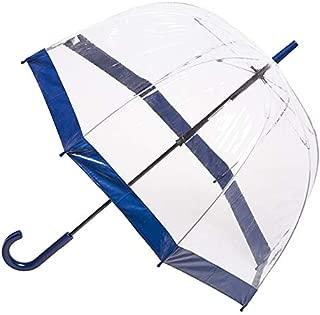 CLIFTON UMBRELLAS Navy Trim Clear PVC Birdcage Windproof Umbrella, Navy Blue, One Size