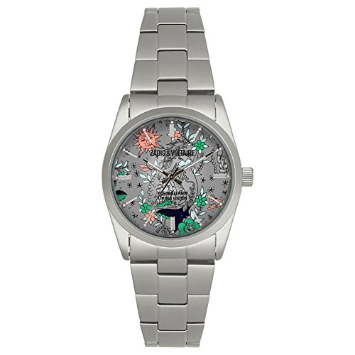Zadig & Voltaire ZVF416 Armbanduhr, Quarz, silberfarbenes Zifferblatt, 36 mm, Armband aus Edelstahl