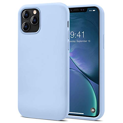 KUMEEK Compatible with iPhone 12 Pro Case, iPhone 12 Case 6.1'' (2020), Soft Silicone Gel Rubber Bumper Case Anti-Scratch Microfiber Lining Shockproof Full-Body Protective Case - Light Blue