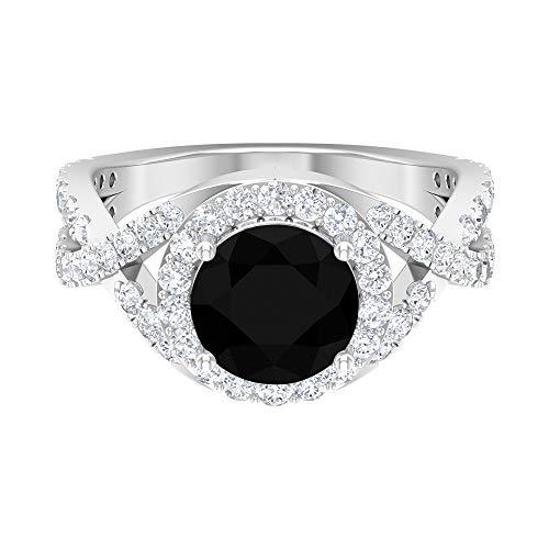 Anillo de diamante negro solitario de 8 mm, anillo de diamante HI-SI, anillo de halo, anillo de compromiso cruzado, solitario con piedra lateral, oro de 14 quilates, Metal, Diamond,
