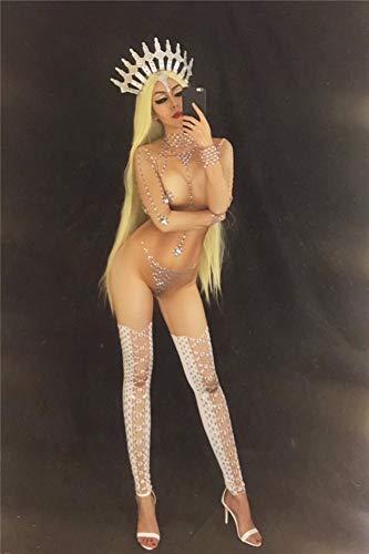 Frauen Stage Naked Jumpsuit Für Sänger Sparkling Crystals Nightclub Party Pole Dance Kostüm Feiern Geburtstagskleidung