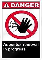 アートの壁の装飾アルミニウムサイン、進行中のアスベスト除去危険サイン、面白い警告サイン屋内と屋外に簡単に取り付けられる家庭用金属安全サイン