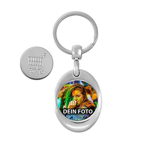 Personalisierbarer Schlüssel-Anhänger zum selbst gestalten mit eigenem Bild/Geschenkidee/Foto-Geschenk/Metall-Anhänger mit Einkaufschip