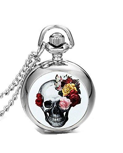 DAYAN Jewelry Collier Pendentif Mesdames Montre de poche à quartz Fleur Rose Tête de mort gothique Crâne diable Halloween Noël Rétro Fancy en alliage couleur argent