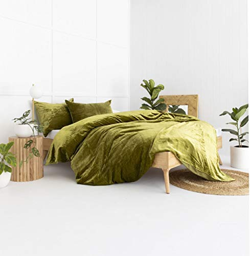 Craftolic 3-Pieces Plush Duvet Covers Queen Size,Velvet Fluffy Comforter Set  Luxury Faux Fur Organic Crushed Velvet Comforter Cover - Bedding duvets Cover Sets (Olive Green)