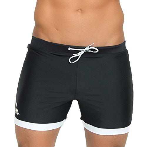 Taddlee Basic Men Swimwear Solid Long Swim Boxer Trunks Black, Balck, Size Large