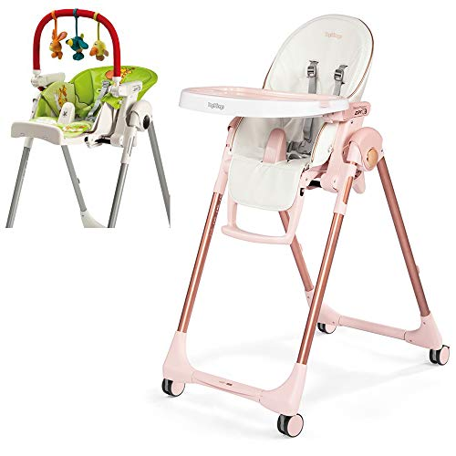 Peg Perego Prima Pappa Zero 3 High Chair, Mon Amour mit Play Bar Bundle