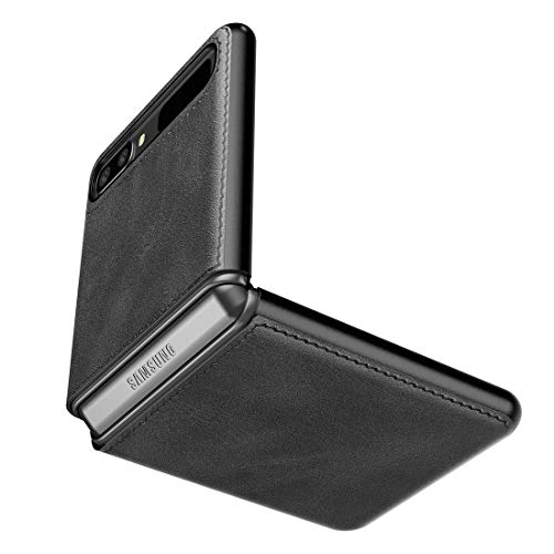 Cresee Hülle für Samsung Galaxy Z Flip 5G / Galaxy Z Flip, PU-Leder Handyhülle Hülle Schutzhülle Cover, Schwarz