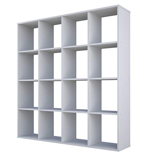 Polini Home Raumteiler Bücherregal Standregal Aktenregal 16 Fach (Weiß)