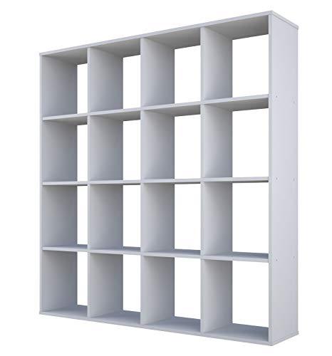 Polini Home Raumteiler Bücherregal Regal weiß 16 Fächer