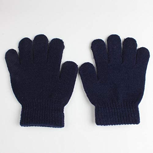 Super Protection Winter Warm Gloves Children Knitted Stretch Mittens Full Finger Glove One Size(Black and White), (Color : Navy)