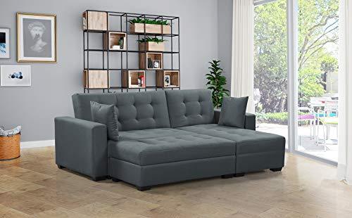 BroyerK 3 pc Reversible Sleeper Sectional Sofa Bed (Light Grey)