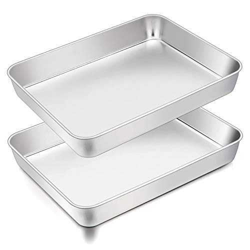 TeamFar Lasagna Pan, 12⅖'' x 9¾'' x 2'', Stainless Steel Rectangular Casserole Cake Baking Brownie Pan, Non-toxic & Sturdy, Brushed Surface & Deep Side, Dishwasher Safe, 2PCS
