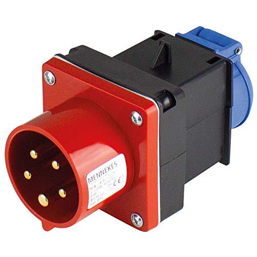 as - Schwabe Adapterstecker Starkstrom Verteiler – 5-poliger 400 V, 16 A CEE-Stecker auf Schuko Steckdose 230 V – Stromverteiler für Baustellen – IP44 – Made in Germany I 60495
