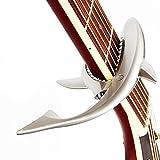 サメの形亜鉛合金ギターカポサメカーポ、アコースティック&エレキギター用 (ダークシルバー)