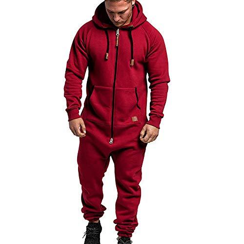 Urijk Combinaison de jogging à capuche pour homme - Combinaison de sport - Combinaison de pyjama - Fermeture éclair intégrale - Vêtement de sport chaud et décontracté - Rouge - M
