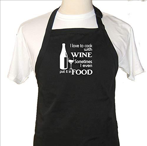 Ad4ssdu4 grappig schort Ik hou van om te koken met wijn soms heb ik zelfs zet het in voedsel keuken chef-kok bbq bar lange harde
