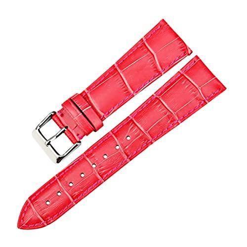 SSMDYLYM Correas de Reloj de Moda Correa de Reloj de Cuero Genuino Rosa 12mm-22mm para Mujer Correa de Reloj para Pulsera de Reloj (Color : Red, Size : 12mm)