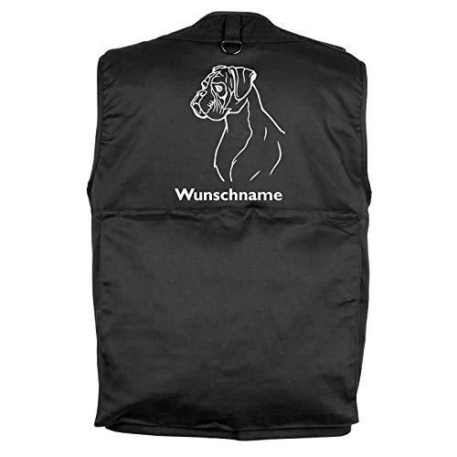 Tierisch-tolle Geschenke Deutscher Boxer - Hundesportweste Hundeführerweste mit Rückentasche und Namen XXL (Motiv 2)
